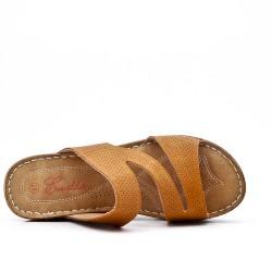 Sandale mule camel à talon compensé