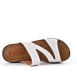 Sandale mule blanche à talon compensé