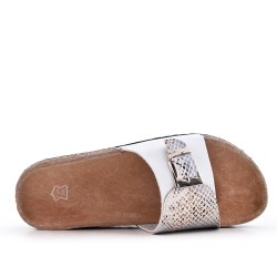 Claquette confort blanche en simili cuir