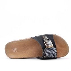 Claquette confort noire en simili cuir
