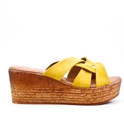 Sandale mule jaune à talon compensé