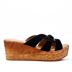 Black mule sandal with wedge heel