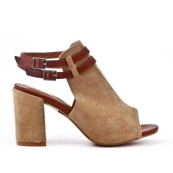 Taupe ankle boot with open toe