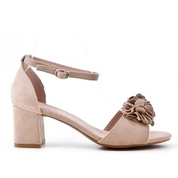 Beige sandal in faux suede with flower