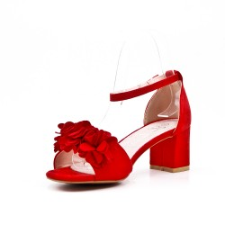 Sandalia rojo en gamuza sintética con flor