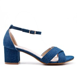 Blue sandal with small square heel