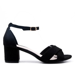 Black sandal with small square heel