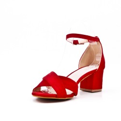Red sandal with small square heel