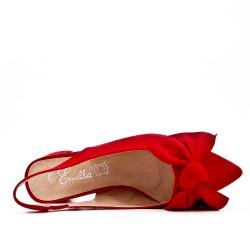 Escarpin rouge en simili daim à nœud