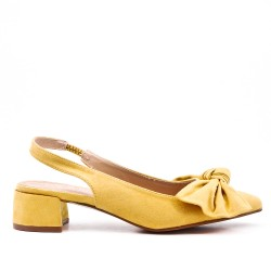 Yellow suede faux pump