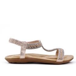 Sandalia oro confort con pedreria