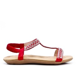 Red comfort sandal with rhinestones