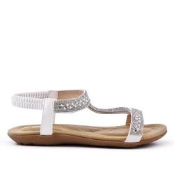 Sandale confort blanche à strass