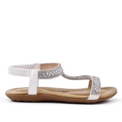 White comfort sandal with rhinestones