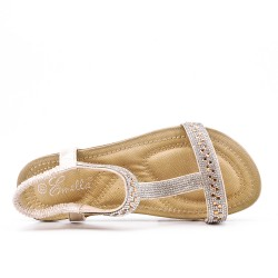 Sandale confort dorée à strass