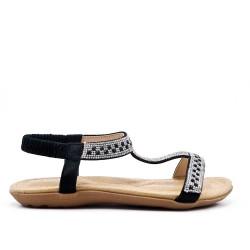 Black comfort sandal with rhinestones