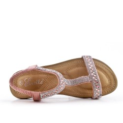 Pink comfort sandal with rhinestones