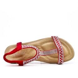 Sandale confort rouge à strass