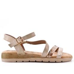 Sandale plate beige en simili cuir
