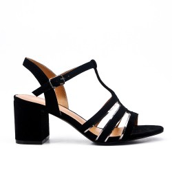 Black faux suede sandals