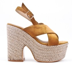Camel sandal with heel and platform