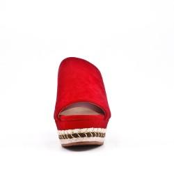 Sandale mule rouge à talon compensé