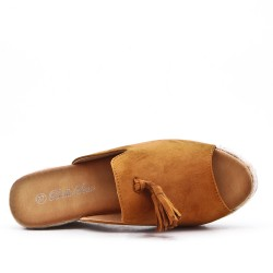 Camel mule sandal in faux suede with pompom