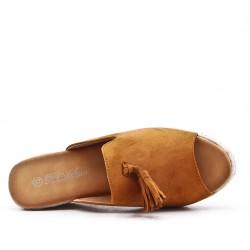 Sandale Mule camel en simili daim à pompon