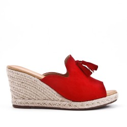 Red mule sandal in faux suede with pompom