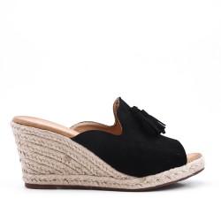 Sandale Mule noire en simili daim à pompon