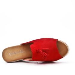 Sandale Mule rouge en simili daim à pompon