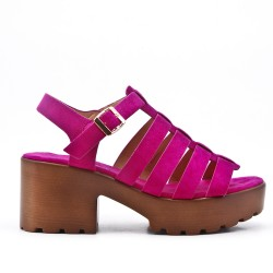 Fuchsia high heel sandal with platform