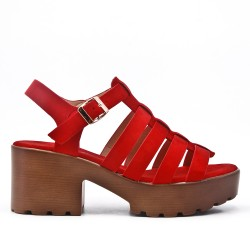 Red high heel sandal with platform