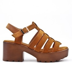 Camel high heel sandal with platform