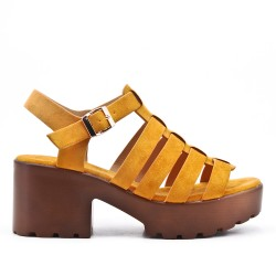 yellow high heel sandal with platform