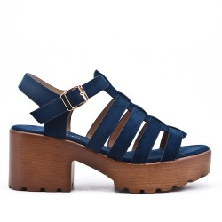 Blue high heel sandal with platform