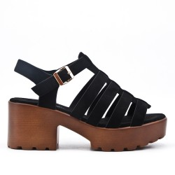 Black high heel sandal with platform