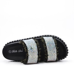 Black rhinestone slate with platform