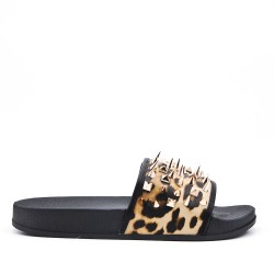 Leopard print comfort slipper with nails