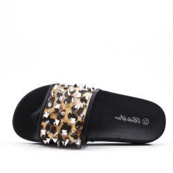 Zapatilla cómoda con estampado de leopardo y uñas