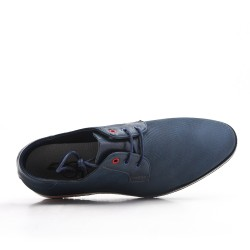 Navy derby faux leather lace