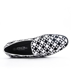 White moccasin imitation leather check