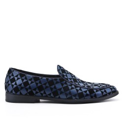 Blue moccasin imitation leather check