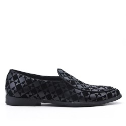 Black moccasin imitation leather check