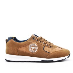 Camel bi-material lace-up sneaker