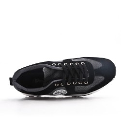 Black bi-material lace-up sneaker